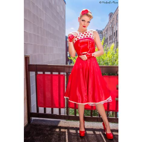 Latex Fiftie's Polka Dots Kleid Rockabilly Look