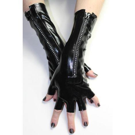 Latex Halbfinger Handschuhe mit Strassstein Zipper